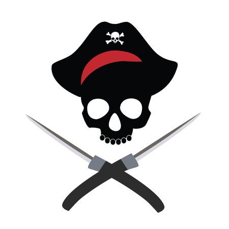 sombrero pirata: Cráneo del pirata en el sombrero de pirata con puñales cruzados trama