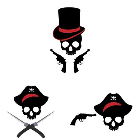 mercenary: Illustration of pirate skull set.