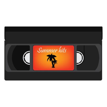 videocassette: cinta de vídeo negro retro con silueta de palma y el texto de verano éxitos para la ilustración del partido de trama verano. Cinta VHS, aislada de la trama de cintas de vídeo