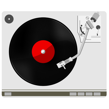 vinyl record: Vinyl player with red vinyl record raster, record player, old, disco, gramophone