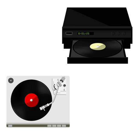 record player: Vinyl player with red vinyl record raster set, record player, old, disco, gramophone Stock Photo
