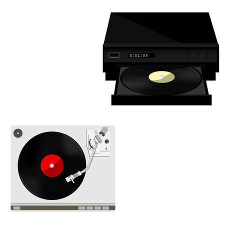 vinyl record: Vinyl player with red vinyl record raster set, record player, old, disco, gramophone Stock Photo