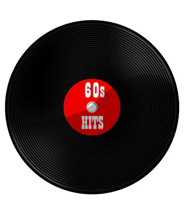 60's: Vinyl record with text 60s hits raster, disco, dance, rock, classic Stock Photo