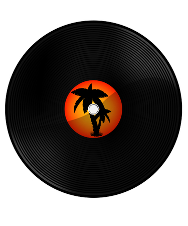 orange sunset: Vintage vinyl record with summer hits. Orange sunset and palm tree silhouette. Summer music party Stock Photo