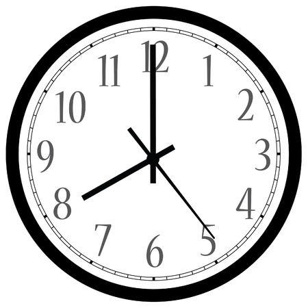 Black wall clock raster isolated. Clock on wall shows eight oclock
