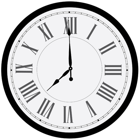 Black wall clock raster isolated. Clock on wall shows eight o'clock. Roman numeral clock Foto de archivo
