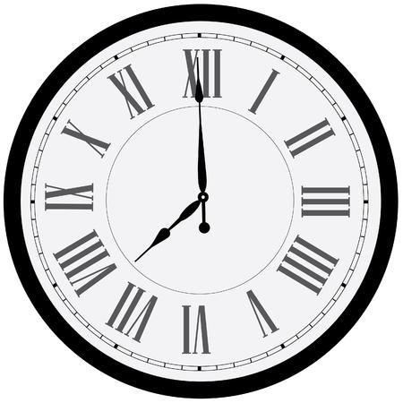 numeros romanos: Aislado Reloj de pared negro de la trama. Reloj en la pared muestra ocho. Reloj de números romanos Foto de archivo
