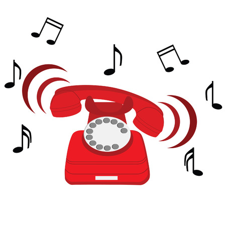 old phone: raster illustration of ringing red stationary phone with music notes symbols. Old red telephone. Red phone with rotary dial.