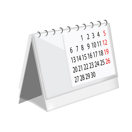 table calendar: White table calendar stand raster isolated icon, desk calendar Stock Photo