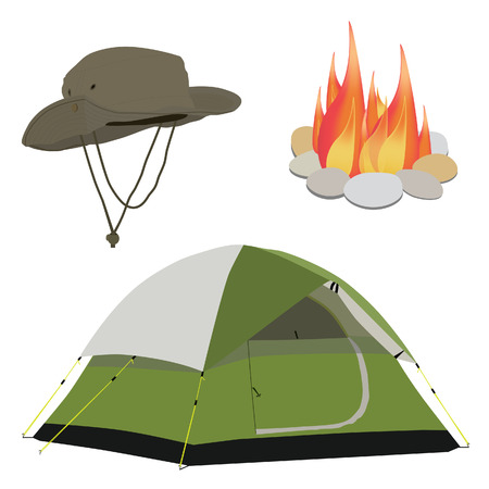 camping equipment: Camping equipment green camping tent, campfire with stones, fisherman hat raster illustration. Camping gear icon set Stock Photo