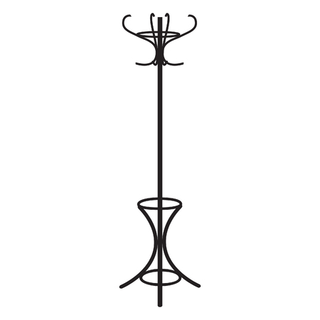 Coat rack black silhouette raster illustration. Floor hanger, coat hanger, coat stand