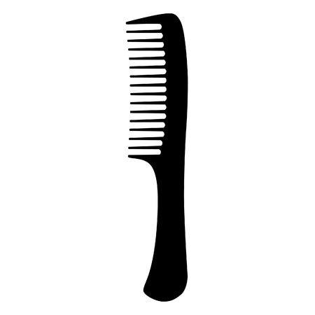 comb hair: Comb raster, barber comb, salon comb, comb hair, black comb, isolated on white Stock Photo