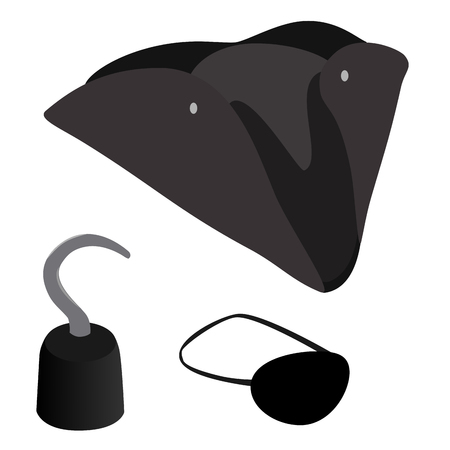 eye patch: Pirate icon set with  pirate hook, hat and eye patch