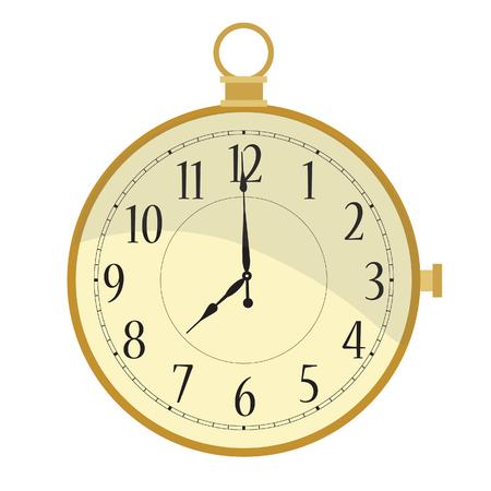 pocket watch: Golden pocket watch with arabic numerals raster illustration. Vintage pocket clock