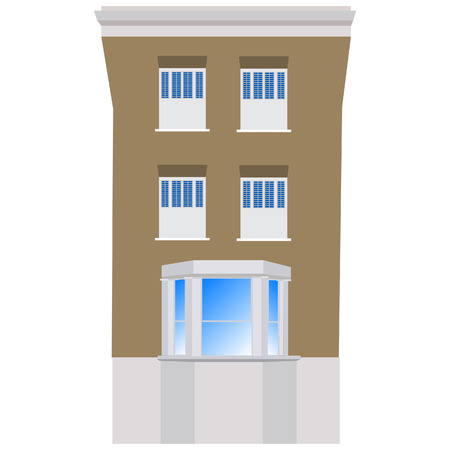 victorian house: Victorian house raster illustration. House exterior front. Hotel building Stock Photo
