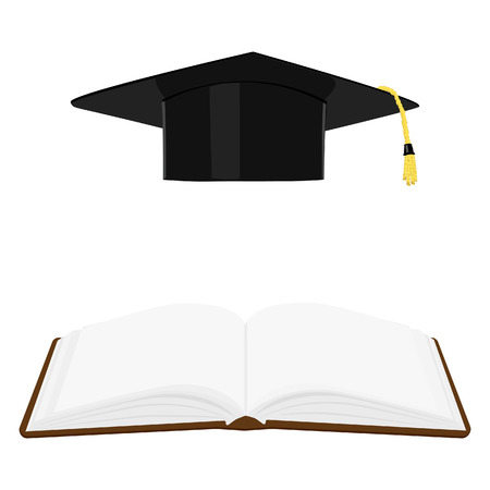 Opened book and graduation cap or hat. Education symbols. Stock Photo
