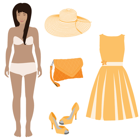 orange dress: Beautiful dress up female paper doll, ready for cut out and play. raster illustration. Orange dress, handbag, shoes and summer hat.