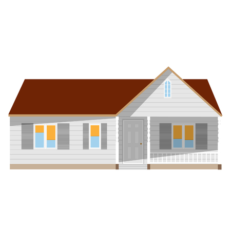 window shade: New cottage, house one story, real estate, home raster isolated, sale