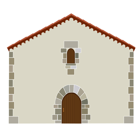 Spanish house, architecture raster icon isolated, real estate, family home