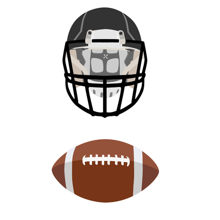 football ball: Brown american football ball and black  helmet, sport equipment, national sport