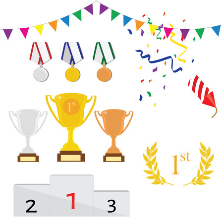 winner podium: raster icon set of three trophy first, second and third place. Golden, silver and bronze medals. Winner podium. Laurel wreath. Sport award Stock Photo