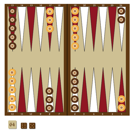 doubling: Backgammon wooden board, two dices and doubling cube, and chips for game raster illustration. Board game Stock Photo