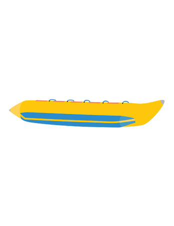 water sport: Yellow banana boat, ride, raster icon isolated on white, vacation leisure, water sport