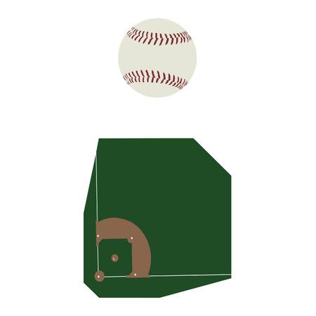 baseball diamond: Baseball ball and field raster icon set, baseball diamond, sport equipment Stock Photo