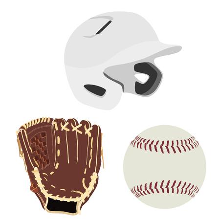 guante de beisbol: casco de bateo de b�isbol blanca, de cuero marr�n guante de b�isbol y pelota de b�isbol aislada de la trama Foto de archivo