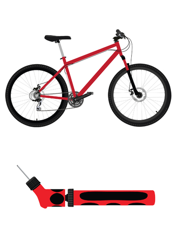 bicycle pump: Healthy lifestyle. Red bicycle and hand bicycle pump raster illustration.  Bicycle accessories icon set Stock Photo