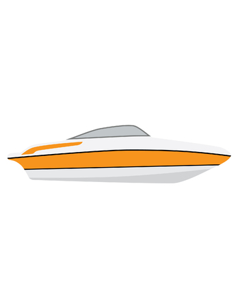 water sport: Luxury boat raster icon isolated, ship symbol, water sport,voyage