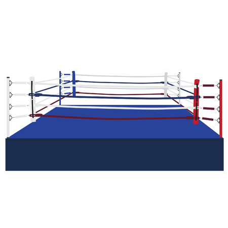 boxing ring: Empty boxing ring raster isolated, boxing ring ropes, platform, training Stock Photo