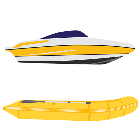 inflatable boat: Illustration of luxury yacht and yellow rubber boat, inflatable boat raster set