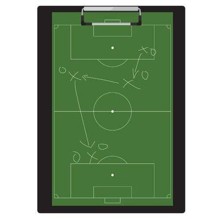 tactic: raster illustration of football tactic on clipboard. Soccer tactic board. Writing a soccer game strategy on a blackboard.