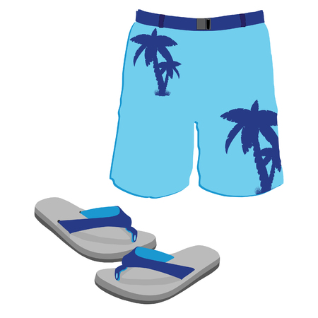 swim wear: Blue beach slippers and swim shorts with palm silhouettes. Men  clothing for the summer and beach.