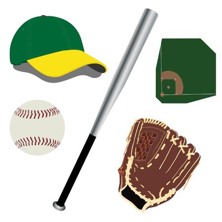 baseball diamond: Green and yellow baseball hat, brown baseball glove, baseball diamond, white baseball ball raster icon set