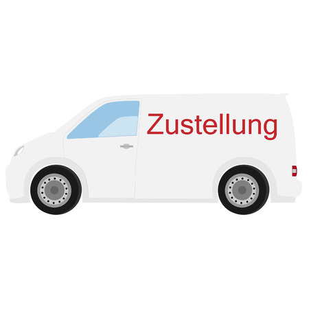 delivery car: Delivery car with german text delivery raster icon, delivery truck, delivery service