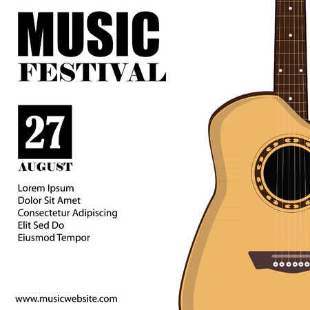 the concert poster: raster illustration of music background with acoustic guitar. Music poster. Music festival. Guitar poster. Concert poster