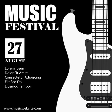 music symbols: raster illustration of music background with black electric guitar. Music poster. Music festival. Guitar poster. Concert poster
