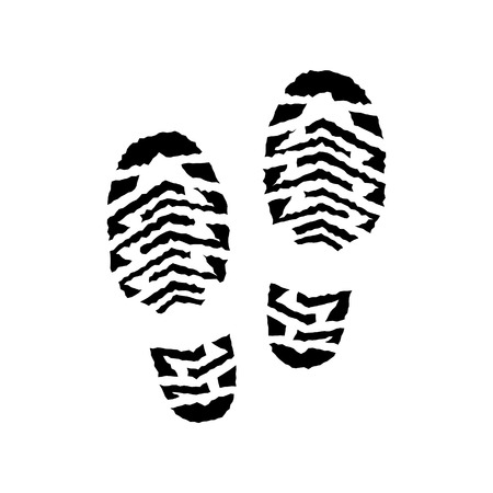 indent: Shoe print raster isolated, pair,running shoe print, silhouette