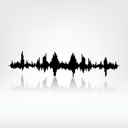 radio wave: Sound wave with reflection on grey background. Audio equalizer technology, pulse musical. raster illustration. Sound wave icon. Radio wave