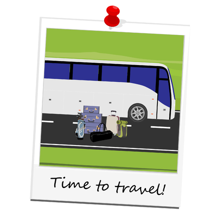 tourist bus: raster illustration polaroid picture with white tourist bus on the road and different types of baggage . Mountain landscape or background. Bus travel road. Bus highway