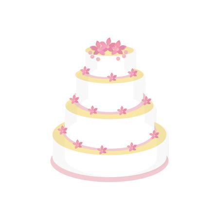 torte: Wedding cake with pink flowers raster isolated, wedding invitation .