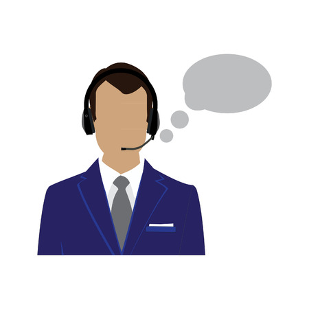 support phone operator in headset: raster icon operator in headset. Call center male avatar. Man support phone operator.