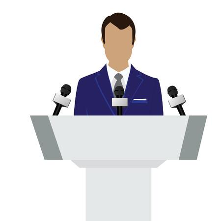 orator: raster illustration man orator speaking from tribune. Business man in blue suit. Speaker person. Conference speaker. Podium speech. Speaker podium