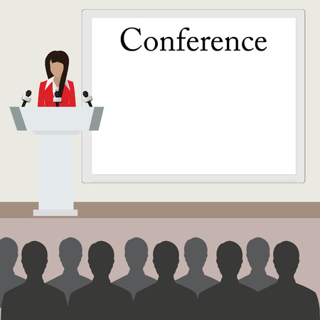 conference room: raster illustration of conference room. People at the conference hall. Business meeting template.
