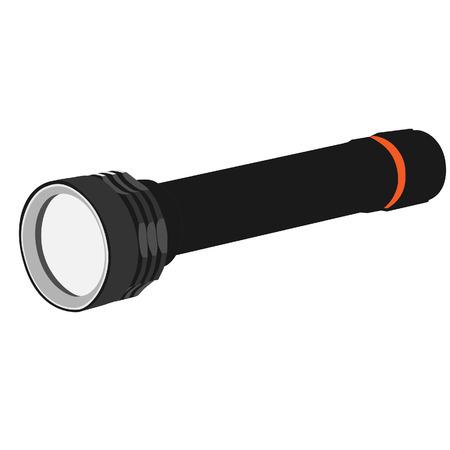 pocket flashlight: Grey pocket flashlight raster icon isolated, hand flashlight Stock Photo