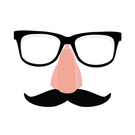 disguise: Fake nose and glasses humor mask raster illustration. Disguise glasses, nose and mustache. Funny glasses