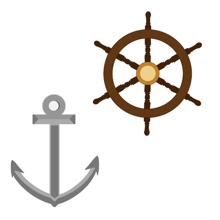 ship wheel: Grey anchor and wooden ship wheel raster isolated set Stock Photo