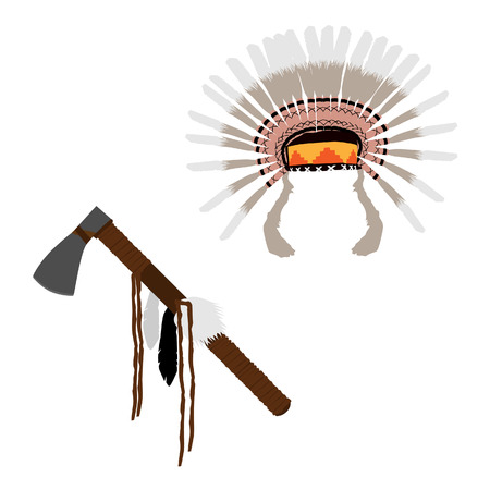 redskin: Native american feather headdress and tomahawk raster isolated